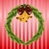 Kerstmiskroon met klokken Stock Afbeelding