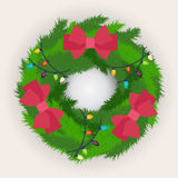 Kerstmiskroon met rode bogen wordt verfraaid die Royalty-vrije Stock Afbeeldingen