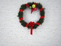 Kerstmiskroon met rode boog royalty-vrije stock foto's