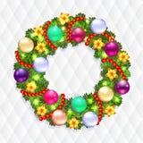 Kerstmiskroon met spar en hulst Stock Foto