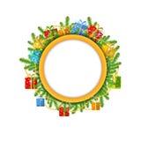 Kerstmiskroon met spar huidige dozen en geïsoleerde parel Royalty-vrije Stock Foto's