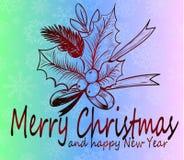 Kerstmiskroon - mooie prentbriefkaar op een gekleurde gradiëntachtergrond Stock Fotografie
