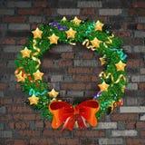 Kerstmiskroon op de oude bakstenen muur royalty-vrije illustratie
