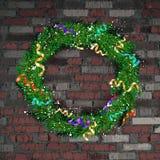 Kerstmiskroon op de oude bakstenen muur stock illustratie