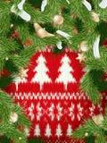 Kerstmiskroon op rood Eps 10 Stock Afbeeldingen