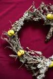 Kerstmiskroon van droge takjes en korstmossen wordt gemaakt dat Royalty-vrije Stock Afbeeldingen
