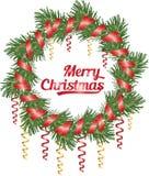 Kerstmiskroon van naaldboomtak, kronkelige en rode lint, vectorillustratie Stock Fotografie