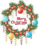 Kerstmiskroon van naaldboomtak, kronkelweg, Kerstmisballen en rood lint, vectorillustratie Stock Foto's