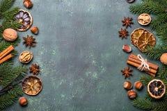 Kerstmiskruiden en decoratie Royalty-vrije Stock Afbeelding