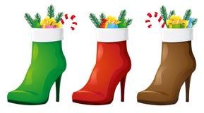 Kerstmislaarzen voor de dame royalty-vrije illustratie