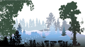 Kerstmislandschap met sneeuw en silhouetten van bevroren installaties wordt behandeld die vector illustratie