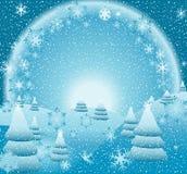 Kerstmislandschap van de fantasie royalty-vrije illustratie