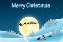 Kerstmislandschap van de winter met santa vector illustratie