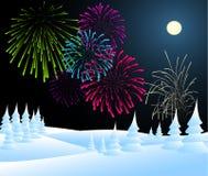 Kerstmislandschap van de winter met vuurwerk Stock Afbeelding