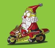 Kerstmislevering. Santa Claus op een motorfiets Vector Illustratie
