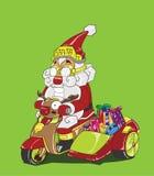 Kerstmislevering. Santa Claus op een motorfiets Stock Afbeeldingen