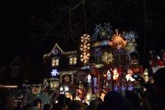 Kerstmislicht in de nacht in New York, de V.S. stock afbeeldingen