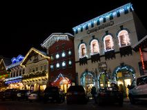 Kerstmislicht omhoog in Leavenworth, WA royalty-vrije stock fotografie
