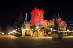 Kerstmislichten in Balboapark Stock Foto