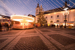Kerstmislichten in de stad Stock Foto's