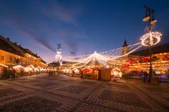 Kerstmislichten in de stad Stock Fotografie
