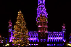 Kerstmislichten in Grand Place, Brussel, België Stock Fotografie