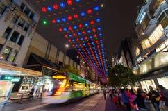 Kerstmislichten in Melbourne Bourke Street Mall Stock Afbeelding