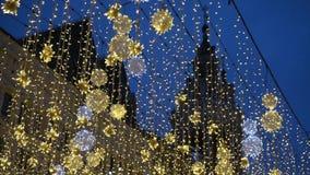 Kerstmislichten in Moskou stock videobeelden
