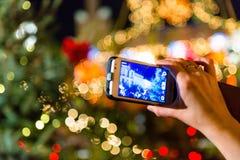 Kerstmislichten op camera stock foto