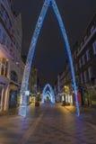 Kerstmislichten op de Straat van Zuidenmolton, Londen Royalty-vrije Stock Foto's