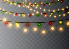 Kerstmislichten op transparante achtergrond worden geïsoleerd die Kerstmis gloeiende slinger Vector illustratie royalty-vrije illustratie
