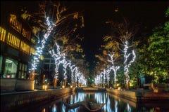 Kerstmislichten in Osaka stock afbeelding