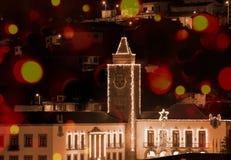 Kerstmislichten in Povoa DE Lanhoso, Braga royalty-vrije stock foto's