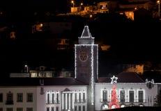 Kerstmislichten in Povoa DE Lanhoso, Braga stock afbeeldingen