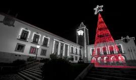 Kerstmislichten, Rode Boom in Povoa DE Lanhoso royalty-vrije stock foto's