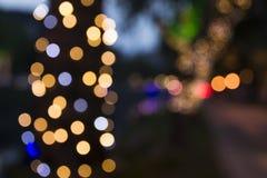 Kerstmislichten vaag op stadsstraten Stock Fotografie