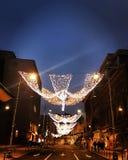 Kerstmislichten van Boekarest stock afbeelding