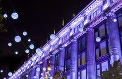 Kerstmislichten van Londen op de Straat van Oxford Stock Fotografie
