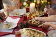 Kerstmislijst met traditionele Poolse melas royalty-vrije stock afbeeldingen