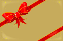 Kerstmislint op Goud Stock Foto's