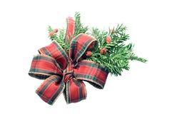 Kerstmislint van het geruite Schotse wollen stof Stock Afbeeldingen