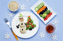 Kerstmislunch met gezonde kid& x27; s voedsel royalty-vrije stock fotografie