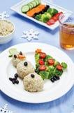 Kerstmislunch met gezonde kid& x27; s voedsel royalty-vrije stock foto's