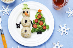 Kerstmislunch met gezonde kid& x27; s voedsel royalty-vrije stock foto