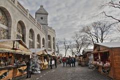 Kerstmismarkt bij Butte Montmartre, Parijs Royalty-vrije Stock Foto