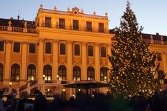 Kerstmismarkt bij Schoenbrunn-Paleis Stock Foto