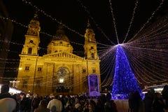 Kerstmismarkt in Boedapest, Hongarije, 2015 Stock Foto's