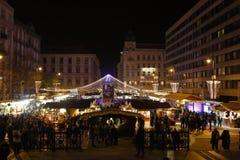 Kerstmismarkt in Boedapest, Hongarije, 2015 Stock Afbeeldingen