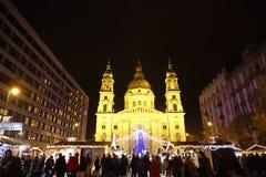 Kerstmismarkt in Boedapest, Hongarije, 2015 Royalty-vrije Stock Afbeelding