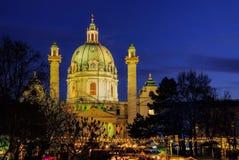 Kerstmismarkt Charles Square van Wenen Royalty-vrije Stock Afbeelding
